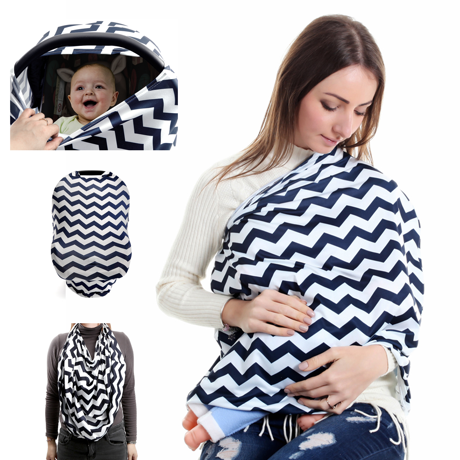 Children Hub Nursing Cover Baby Breastfeeding Scarf Car Seat Canopy Navy And White
