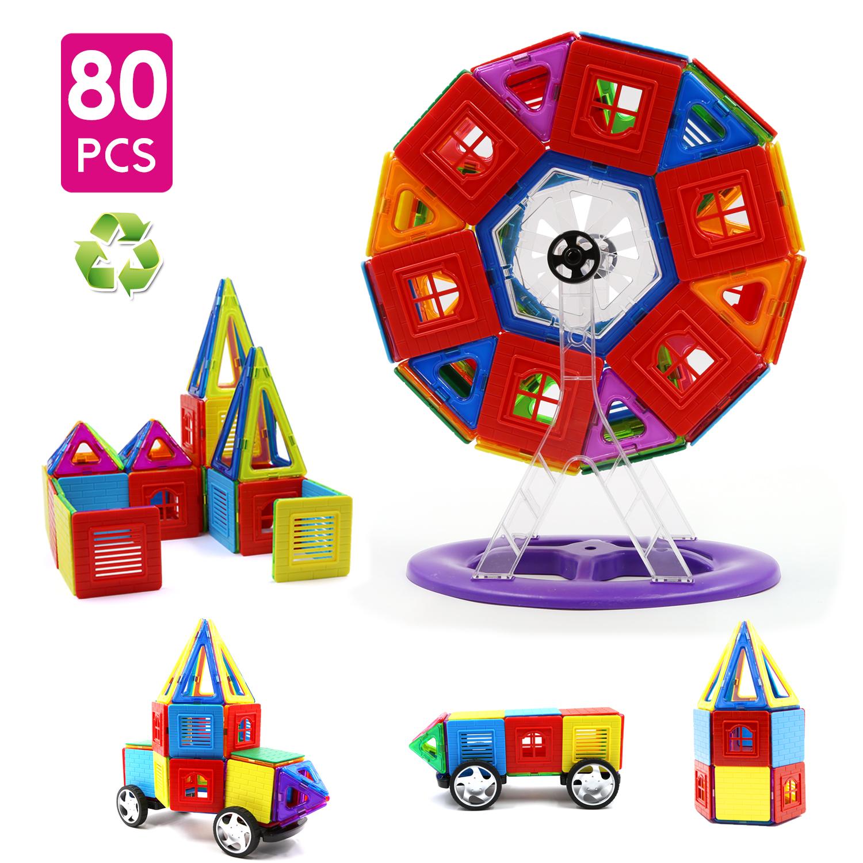 Children Hub 80pcs Magnetic Tiles Set Premium Quality Education