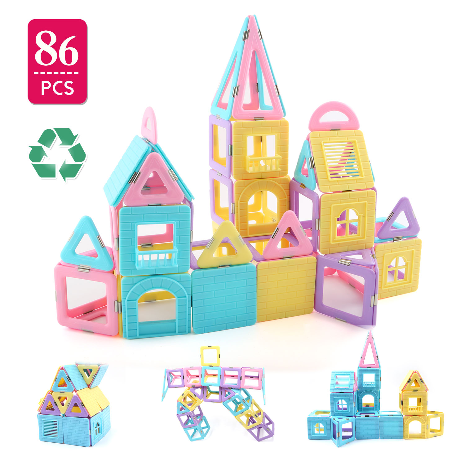Children Hub 86pcs Magnetic Building Blocks Set With Different